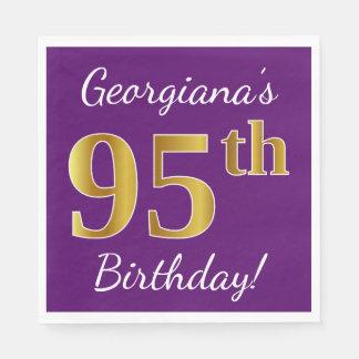 Purple, Faux Gold 95th Birthday + Custom Name Disposable Serviette