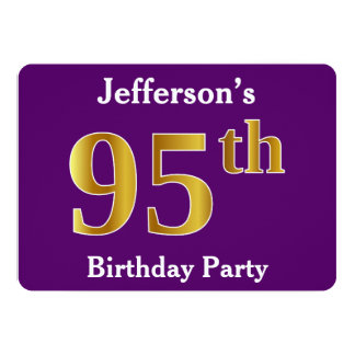 Purple, Faux Gold 95th Birthday Party; Custom Name Card