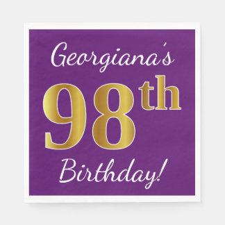 Purple, Faux Gold 98th Birthday + Custom Name Disposable Serviette