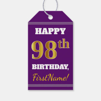 Purple, Faux Gold 98th Birthday + Custom Name Gift Tags