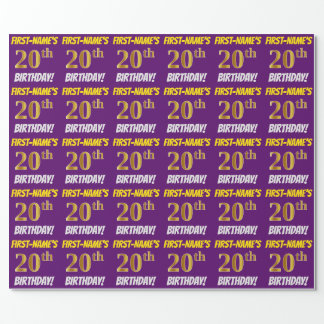 """Purple, Faux/Imitation Gold, """"20th BIRTHDAY"""" Wrapping Paper"""