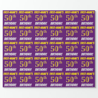 """Purple, Faux/Imitation Gold, """"50th BIRTHDAY"""" Wrapping Paper"""
