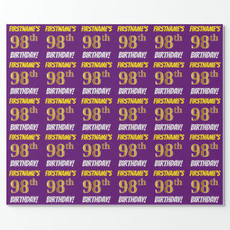 """Purple, Faux/Imitation Gold, """"98th BIRTHDAY"""" Wrapping Paper"""