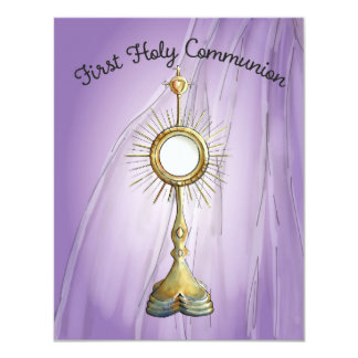 Purple First Communion Announcement