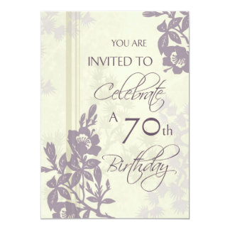 Purple Floral 70th Birthday Party Invitation Cards