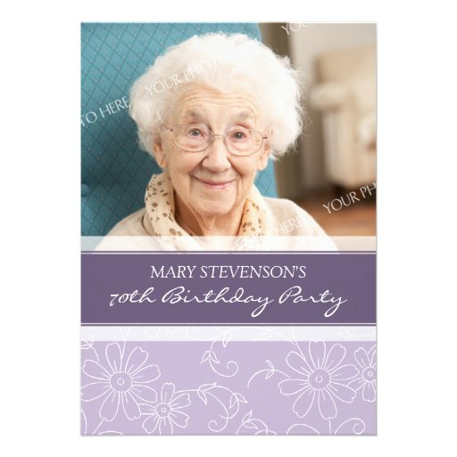 Purple Floral 70th Birthday Party Invitations