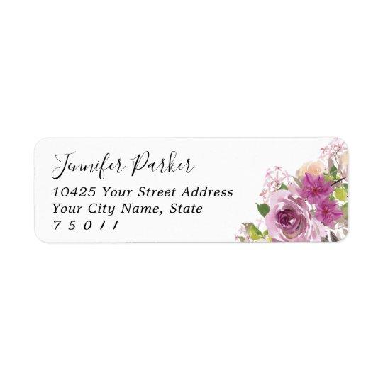 Purple Floral Bridal Shower Return Address Labels