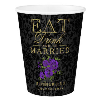 Purple Floral Eat, Drink and be Married -Wedding