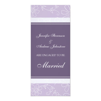 Purple Floral Engagement Announcement Cards