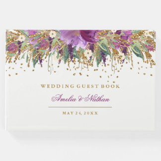 Purple Floral Glitter Amethyst Wedding Guest Book