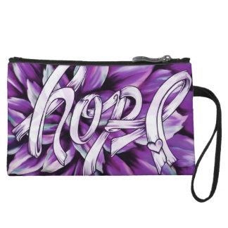 Purple floral HOPE Pancreatic cancer clutch. Wristlet Purses