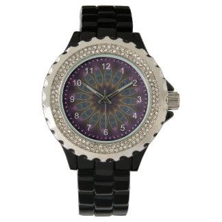 Purple Floral Kaleidoscope Rhinestone Watch