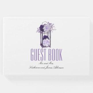 Purple Floral Lantern Wedding Guest Book