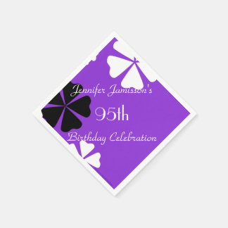 Purple Floral Paper Napkins, 95th Birthday Party Paper Napkin