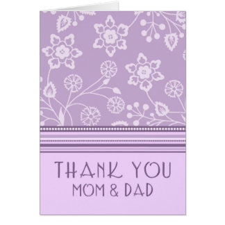 Purple Floral Parents  Wedding Day Thank You Card