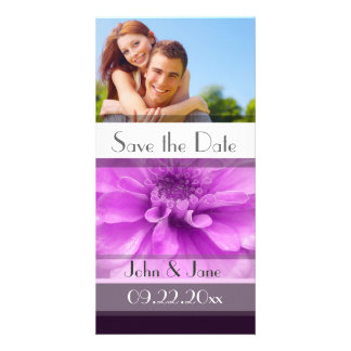 "Purple Floral  /photo  ""Save the Date"" Customised Photo Card"