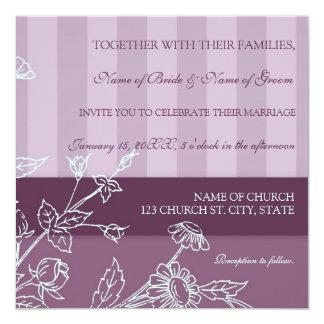 Purple Floral Photo Wedding Invitation Cards