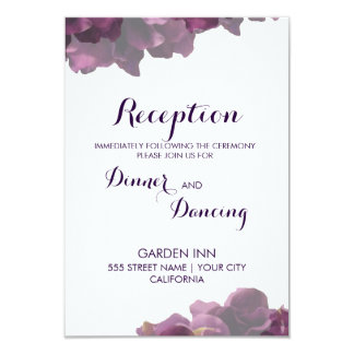 Purple Floral Reception Card