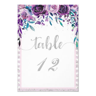 Purple Floral & Silver Wedding Table Numbers