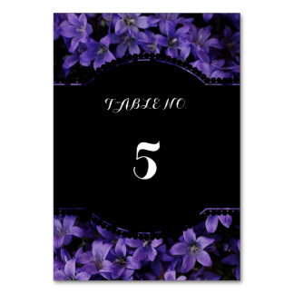 Purple floral table number cards