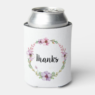Purple Floral Thanks Coozie