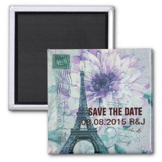 purple floral Vintage Paris Eiffel Tower Magnet