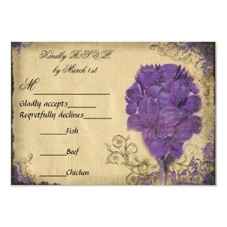 Purple Floral Vintage Wedding RSVP Personalized Announcements