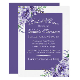 Purple Floral Watercolor Ultra-Violet Chic Wedding Card