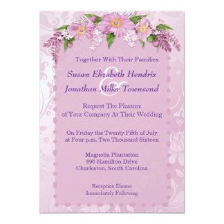 "Purple Floral Wedding Invitations 5"" X 7"" Invitation Card"