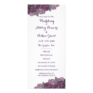 Purple Floral Wedding Program Full Colour Rack Card