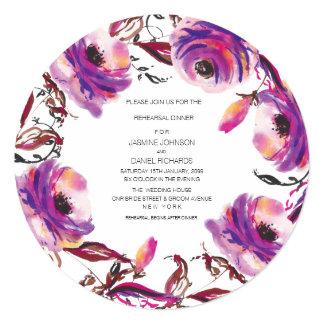 Purple Floral Wreath Rehearsal Dinner Circle Card