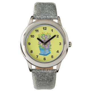 Purple Flower Garden Glitter Watch