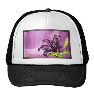 Purple Flower Image Mesh Hats