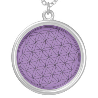 Purple Flower of Life Silver Plated Necklace