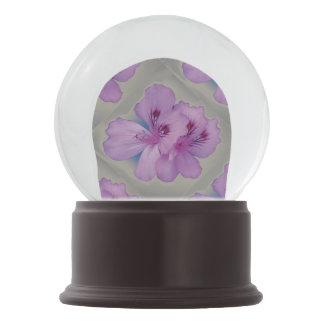 Purple Flower on Silver Gray Snow Globe Snow Globes
