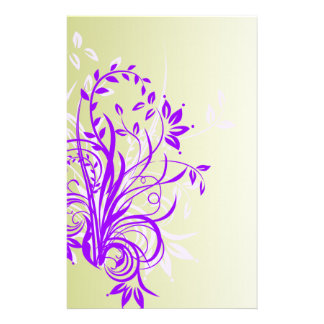 Purple FLower Scrapbook Pages Stationery