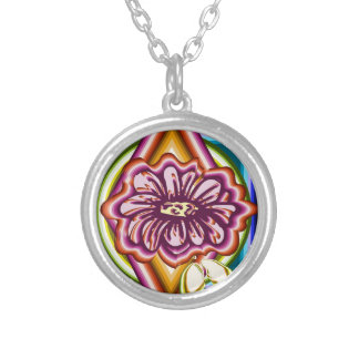 Purple flower with geometric shapes silver plated necklace