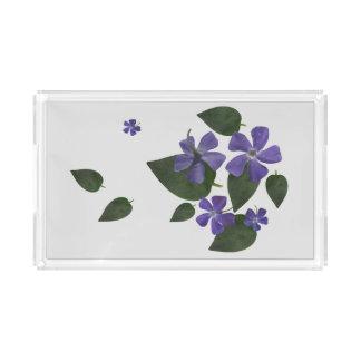 purple flowers acrylic tray