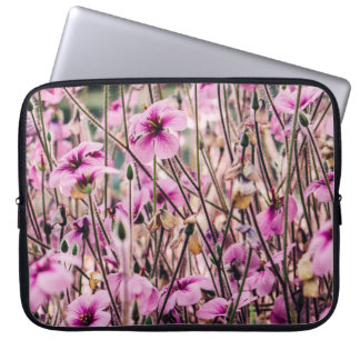 Purple Flowers Growing In A Field, Nature, Floral Laptop Sleeve