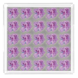 Purple Flowers on Silver Gray Perfume Tray