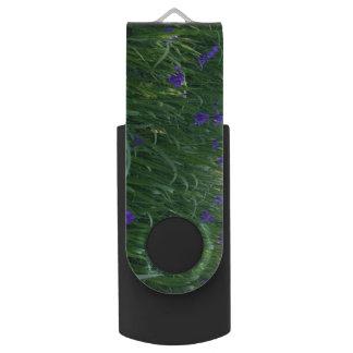 Purple Flowers Swivel USB 3.0 Flash Drive