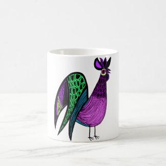 Purple Folk Art Rooster Coffee Mugs