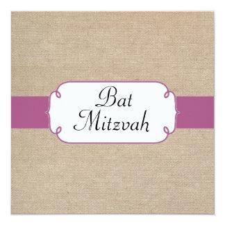 Purple Fuchsia and Beige Burlap Bat Mitzvah Card