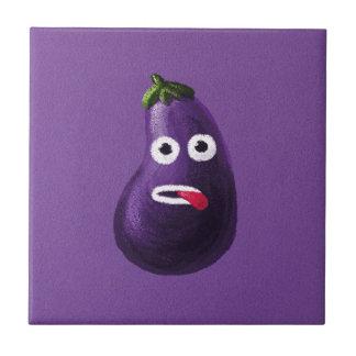 Purple Funny Cartoon Eggplant Small Square Tile