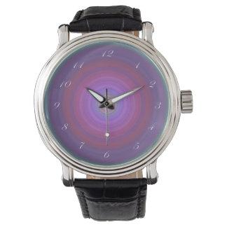 Purple Fuschia Bullseye with script white numbers Watch