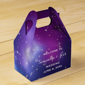 Purple Galaxy Cluster Wedding Welcome Favor Favour Boxes
