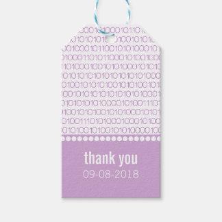 Purple Geek Chic Binary Code Gift Tags