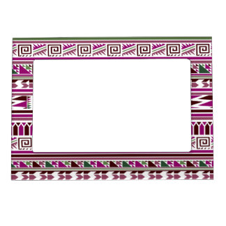 Purple Geometric Modern Aztec Tribal Print Pattern Magnetic Picture Frame