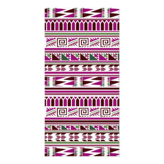 Purple Geometric Modern Aztec Tribal Print Pattern Picture Card