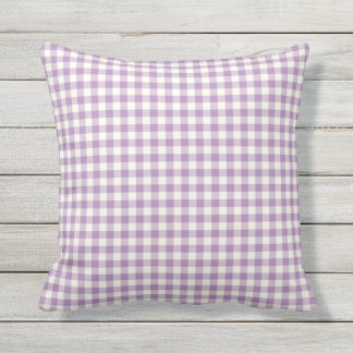Purple Gingham Pattern Outdoor Pillows
